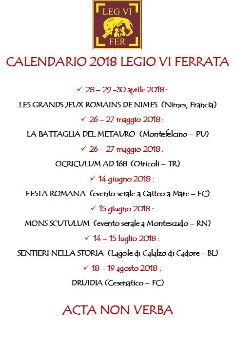 CALENDARIO 2018 LEGIO VI FERRATA